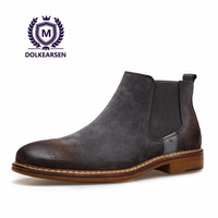 DOLKEARSEN High Quality Vintage Best Chelsea Boots Cow Suede Kanye West Boots Real Leather Fashion Men Ankle Boots D160503