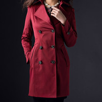 Medium long trench coat for women, double breasted, solid wine red elegant color winter women jacket coat
