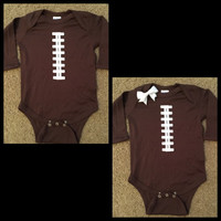 Football Onesuit - Football Baby - Long Sleeve Onesuit - Ruffles with Love - Baby Clothing - RWL