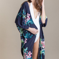 Ocean Club Floral Kimono Swimsuit Cover Up