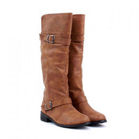 Concise Buckle and Low Heel Design Women's Boots