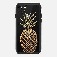 iPhone 7 Case (Jet Black), Faux Gold Leaf Fruity Summer Pineapples by BlackStrawberry | Casetify (iPhone 6s 6 Plus SE 5s 5c & more)