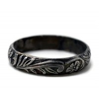 Floral Wedding Band, Handmade Silver Ring, Oxidized Silver Ring, Renaissance Ring, Stacking Ring