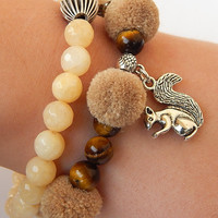 Set of Two Bracelets: Calming Tigers Eye Bracelet and Yellow Jade Bracelet, Healing Beaded Bracelets