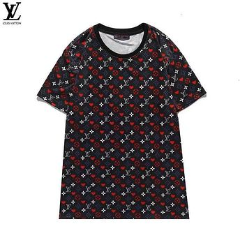 LV Louis Vuitton Fashion Short Sleeve Pure cotton Print Round collar Top