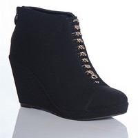Forever Wrapped In Chains Olesia-11 Chain Vamp Faux Suede Wedge Ankle Booties - Black