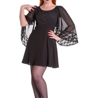 Spin Doctor Bewitched Black Moon & Stars Sheer Lace Wing Sleeves Black Dress