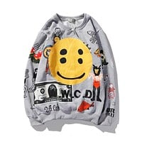 Graffiti Letter Print Plus Velvet Sweatshirt Men  Fleece Hoodie Hip Hop Stranger Things Hooded Hoodies