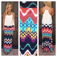 Topeeka Print Roll Down Maxi Skirt