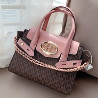 Mk new stitching printed letters ladies shopping handbag shoulder bag