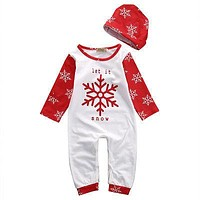 Cute Baby Girl Christmas Romper Baby Boy Xmas Playsuit Fashion Toddler Hat Print Outfits Infant Snow Clothing Set