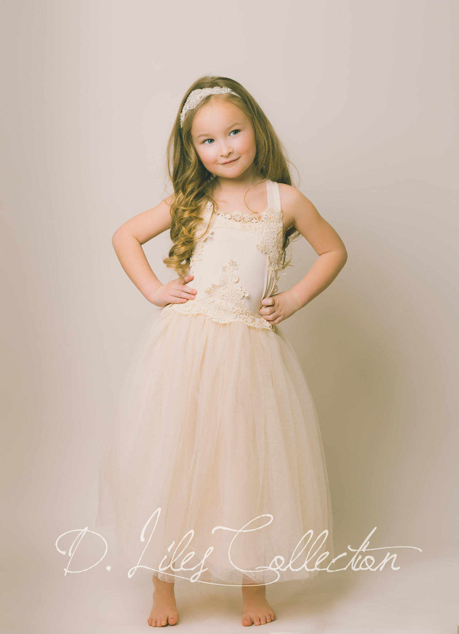 Evangeline Flower Girl Dress in Blush from D Liles Collection