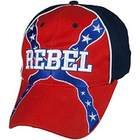 Rebel Flag With Embroidered Rebel Velcro Hat