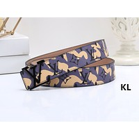 Inseva Louis Vuitton LV Fashion Hot Selling Men's and Women's Printed Graffiti Belt Yellow Belt+Black buckle