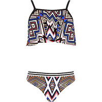 River Island Girls black geo print frill 3 piece bikini