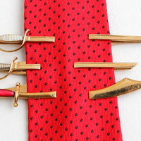 Vintage Mens Sword Tie Bar Lot - Retro Tie Clips by Swank, Gold Tone Scimitar & Sabre Weapon Jewelry Accessories, Mother of Pearl