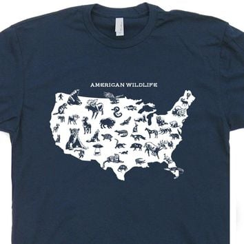 American Wildlife T Shirt Hiking Camping National Park Tee