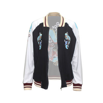 Fashion Print Dragon Tiger Baseball Jacket