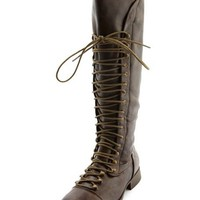 Exposed-Zip Lace Up Boot: Charlotte Russe
