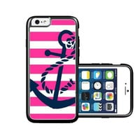RCGrafix Brand Springink Pink Nautical Stripes And Anchor iPhone 6 Case - Fits NEW Apple iPhone 6