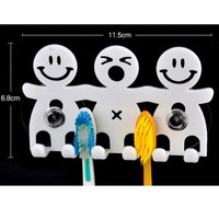 Cute Design Smile Suction Hooks 5 Position Tooth Brush Holder Bathroom Sets Cartoon Sucker Toothbrush Holder for Home Decor