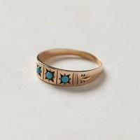 Antique Turquoise Trilogy Ring by shopFiligree Gold One Size Jewelry