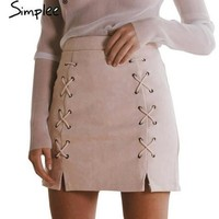 Women Vintage Retro High Waist Suede Skirt [9819013005]