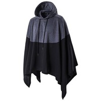 Mens Hoodies Fashion Drawstring Cloak sweater Casual Hit Color Hooded Tops