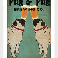 Made to Order -- Pug & Pug Brewing Co. Beer  ILLUSTRATION Giclee Print 12x18  inches signed
