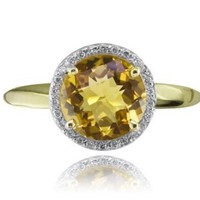 Amazon.com: Color Story Charming Collection 14K Yellow Gold Round Citrine and Diamond Ring: Robert Leser: Jewelry
