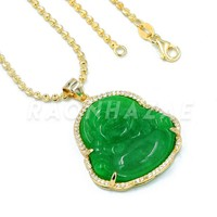 .925 Sterling Silver GOLD Plated Smiling Chubby Buddha (Green Jade) Pendant w/ Moon Cut Ball Chain