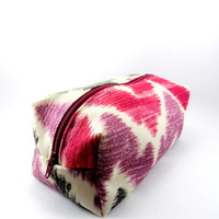 Plum and Grey Chevron Makeup Bag, Gadget Case, Under 15, Pencil Case, Medium, Zippered, Cosmetic Case, For Her