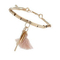 Tassel And Charm Drop Bracelet - Natural