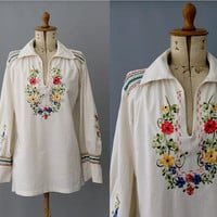 1970s Mexican embroidered floral Blouse /70s mexican blouse