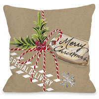"""""""Christmas Package"""" Indoor Throw Pillow by Timree Gold, 16""""x16"""""""
