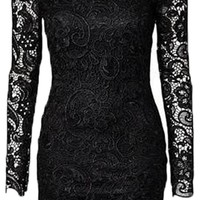 Women's Vintage Crochet Lace Backless Open Back Bodycon Clubwear Party Dress