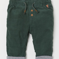 Lined Corduroy Pants - Dark green - Kids | H&M US