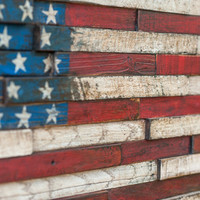 Wooden American flag reclaimed lumber home decor wall hanging