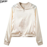 Women 2 Colors Zip Up Long Sleeve Brief Slim Pockets Satin Bomber Jacket Fashion Casual Silky Plain Baseball Collar Coat