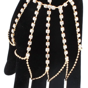 Goldtone Iced Out Single Row with Links Hand Chain Body Jewelry