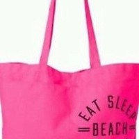 Victoria's Secret PINK 2015 EAT SLEEP BEACH REPEAT Swim Beach Tote Bag