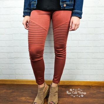 Denim Twill Moto Jeggings - Terracotta - Small only