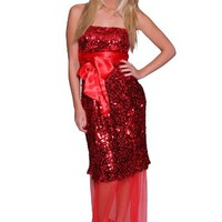 Luxy Red Strapless Sequin Top with Sheer Chiffon Hem Prom Dress