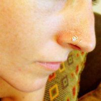 Double Loop Nose Ring with Crystal Moonstone Bead by bijoufish