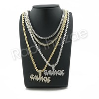 "ICED OUT Gold SAVAGE BUBBLE PENDANT W/ 24"" ROPE /18"" TENNIS CHAIN NECKLACE SC004"