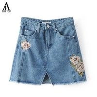 PEAPDZ2 Summer 2017 denim skirts jeans women casual pink rose embroidery high waist mini skirt Elegant jupe femme saia jeans with tassel