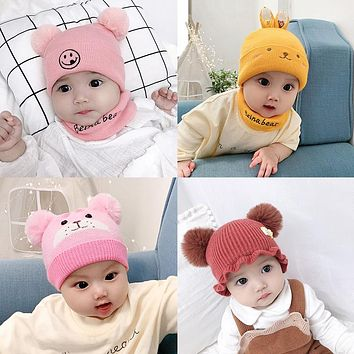 Children's Knitted Hat Baby Bib Hat Cute Baby Smiley Wool Single Hat Boys And Girls Autumn And Winter Seasons