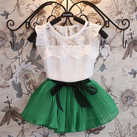 Baby Girls Kids Clothing Sets Chiffon Floral T-shirt+ Bow Skirts Set Party Tutu Dress 2-6Y Clothes