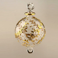 Blown glass tree ball Ornament with Hand-Etched