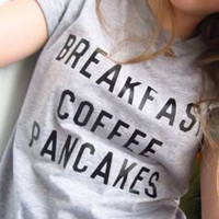 Breakfast Coffee Pancakes tshirt for women tshirts shirts shirt top